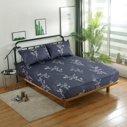 繁葉雅緻精梳棉三件式床包組-雙人