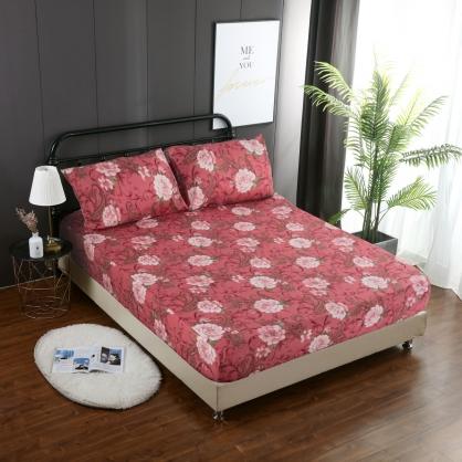 真情牡丹精梳棉三件式床包組-加大