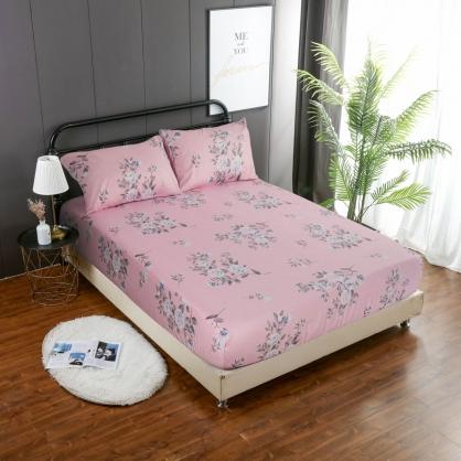 春風玫瑰精梳棉三件式床包組-特大