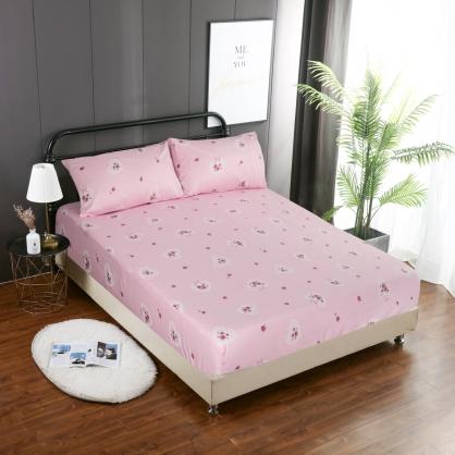 玫瑰心願精梳棉三件式床包組-單人