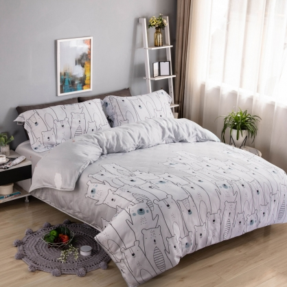 哈囉熊寶40支紗天絲兩用被床包組-特大