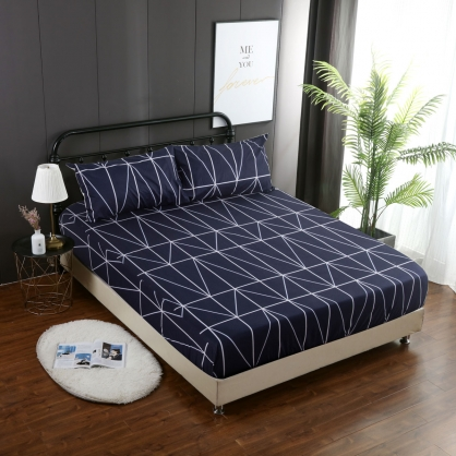 幾何面向40支精梳棉三件式床包組-加大