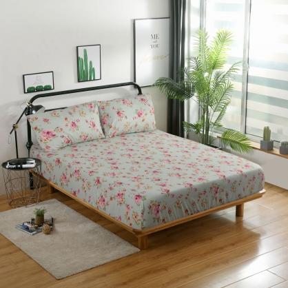 花草巷弄40支精梳棉三件式床包組-雙人