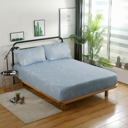 傾霞葉放40支精梳棉三件式床包組-雙人
