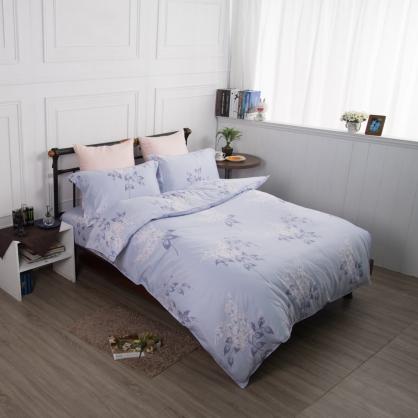 藍紛庭榭舒爽天絲兩用被鋪棉床包組-特大
