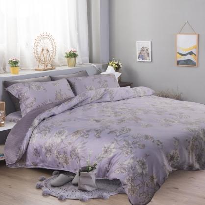 紫迭玉藏60支紗天絲兩用被床包組-加大
