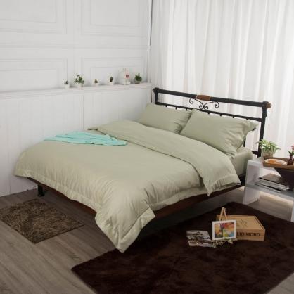素牧綠埃及長纖細棉四件式兩用被床包組-特大