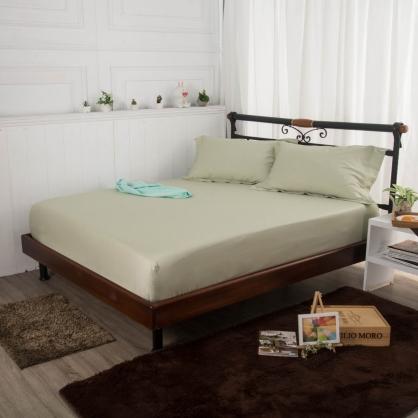 素牧綠埃及長纖細棉三件式床包組-雙人