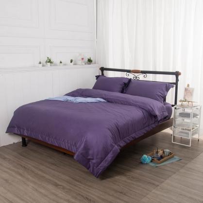 名媛紫埃及長纖細棉四件式兩用被床包組-加大