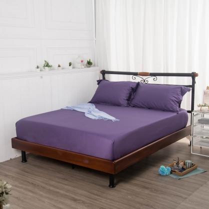 名媛紫埃及長纖細棉三件式床包組-雙人