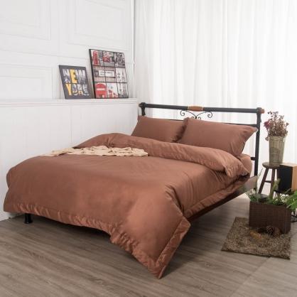 磚瑤咖埃及長纖細棉四件式兩用被床包組-雙人