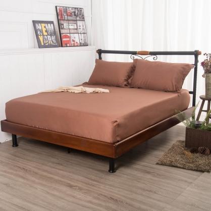 磚瑤咖埃及長纖細棉三件式床包組-特大