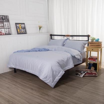 淺水藍埃及長纖細棉四件式兩用被床包組-加大