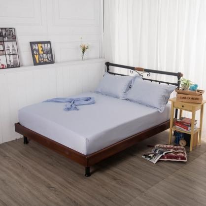 淺水藍埃及長纖細棉三件式床包組-特大
