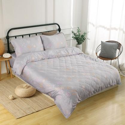 繡夜梓蘭60支紗天絲兩用被鋪棉床包組-雙人