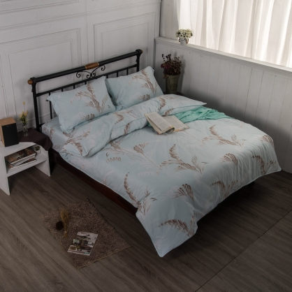 涼意枝秀舒爽天絲兩用被鋪棉床包組-加大