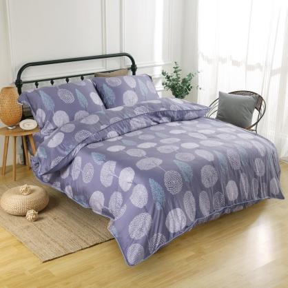 松艾靛美60支紗天絲兩用被床包組-加大