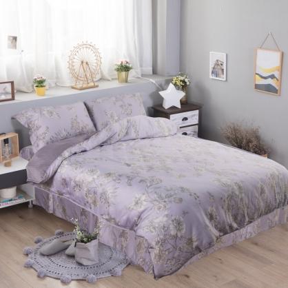 紫迭玉藏60支紗萊賽爾天絲床罩組-加大