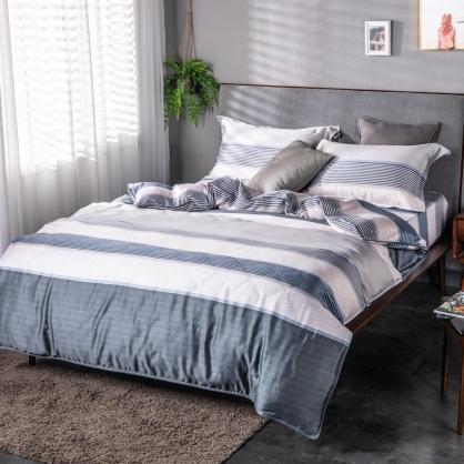 藍莫格調40支紗天絲兩用被床包組-雙人