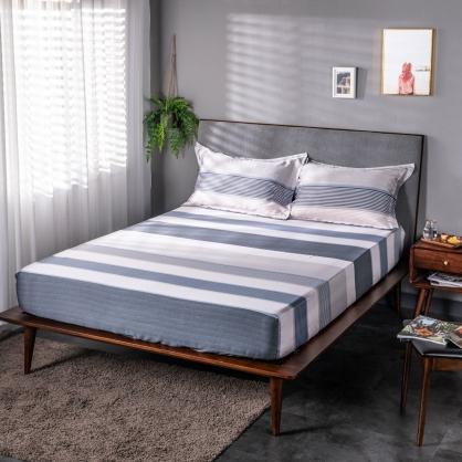 藍莫格調40支紗天絲三件式床包組-特大