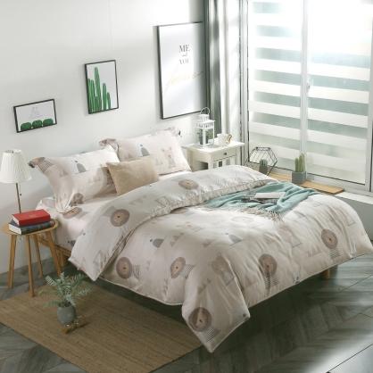 沙漠熊獅40支紗天絲兩用被床包組-特大