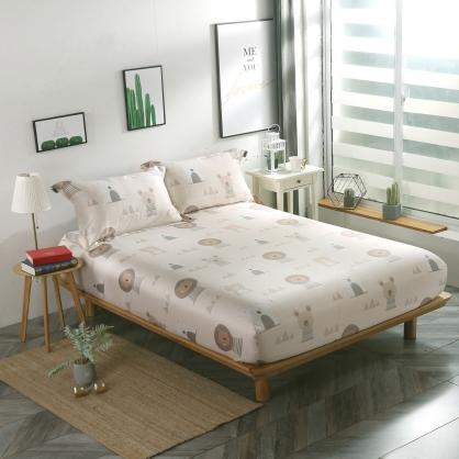 沙漠熊獅40支紗天絲三件式床包組-雙人