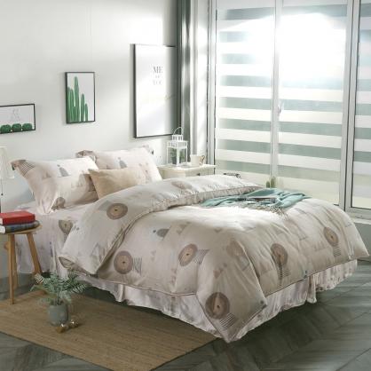 沙漠熊獅40支萊賽爾天絲四件式床罩組-加大