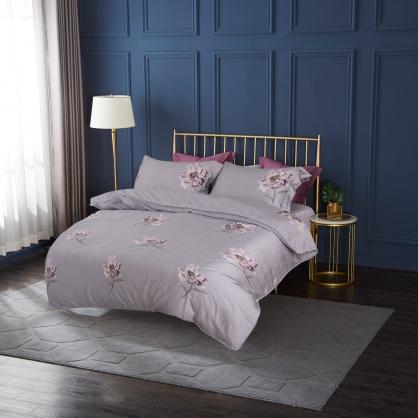 紫羅曖昧80支紗綾羅天絲棉兩用被鋪棉床包組-加大