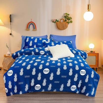旺旺鳳梨法蘭絨鋪棉床包兩用被組-單人
