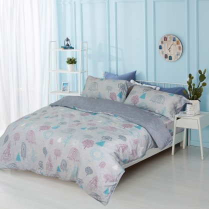遊樂夢園80支紗天絲兩用被鋪棉床包組-加大