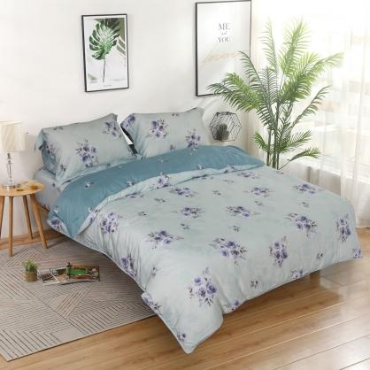 鑫朵朵玫80支紗天絲兩用被鋪棉床包組-加大
