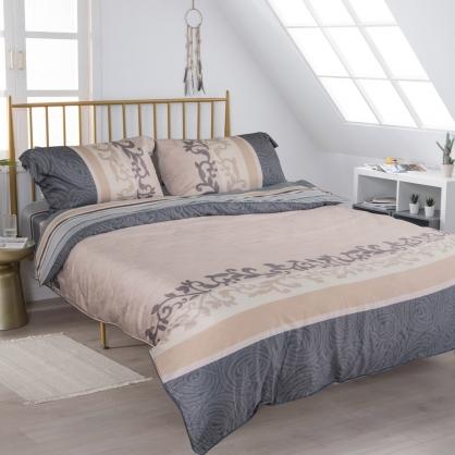 典雅風情細棉天絲兩用被鋪棉床包組-雙人