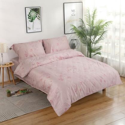 粉樣少女細棉天絲兩用被鋪棉床包組-特大