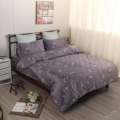 紫梓典藏細棉天絲兩用被鋪棉床包組-特大