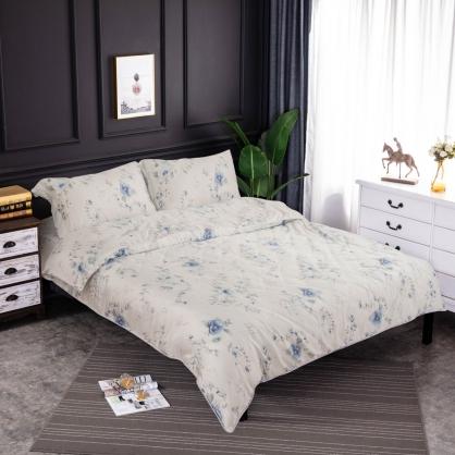 隨波藍蘭細棉天絲兩用被床包組-雙人