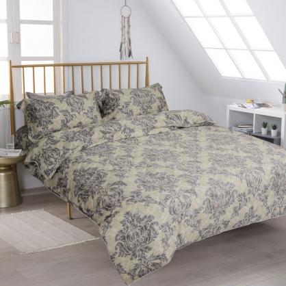 宮廷印象細棉天絲兩用被鋪棉床包組-加大(贈日式被枕頭組)