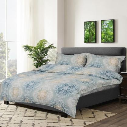 藍語緹花100%帝王棉四件式兩用被床包組-雙人