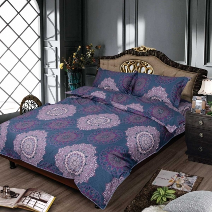 紫曼陀夢100%帝王棉四件式兩用被床包組-加大