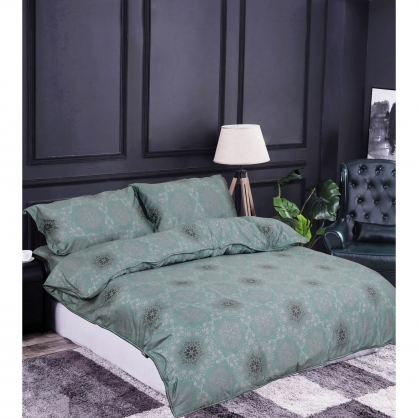 若隱花雨100%帝王棉四件式兩用被鋪棉床包組-雙人
