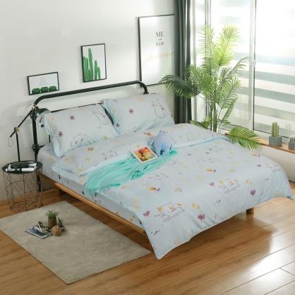 紫貓花語細棉天絲兩用被鋪棉床包組-加大