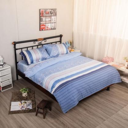 藍韻迷情細棉天絲兩用被床包組-雙人