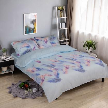 渲染羽毛細棉天絲兩用被床包組-雙人