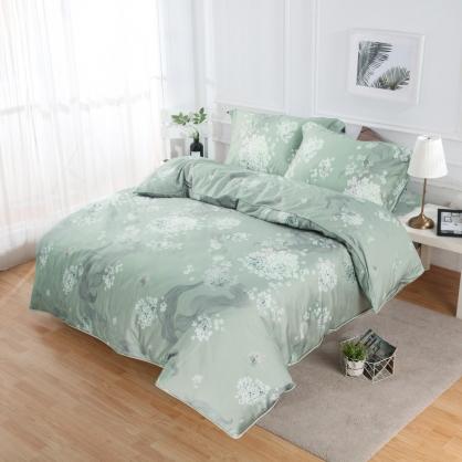 月清飄香60支紗天絲兩用被鋪棉床包組-加大