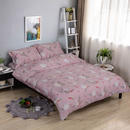 夢粉兔兔細棉天絲兩用被鋪棉床包組-加大