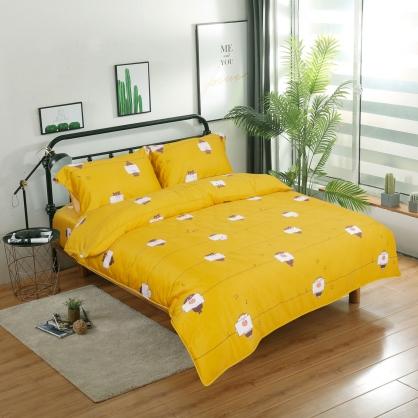 俏皮灰熊細棉天絲兩用被鋪棉床包組-特大
