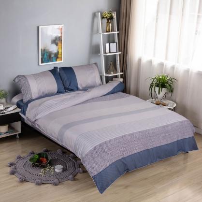 拼接條紋細棉天絲兩用被鋪棉床包組-雙人