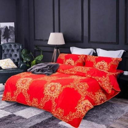 奢華緹花 100%帝王棉四件式兩用被鋪棉床包組-雙人