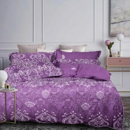 和拓浪漫80支紗綾羅天絲棉兩用被鋪棉床包組-加大