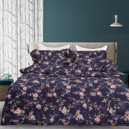 暗紋提花100%帝王棉四件式兩用被鋪棉床包組-特大