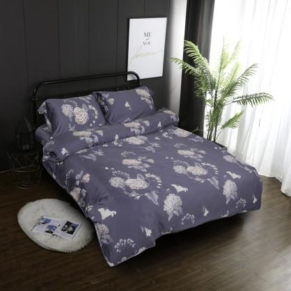 繡球花園60支紗天絲兩用被鋪棉床包組-加大